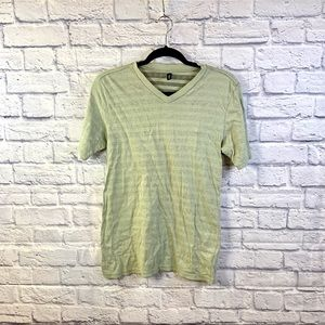 Mens Faded Green Taupe Striped T-Shirt